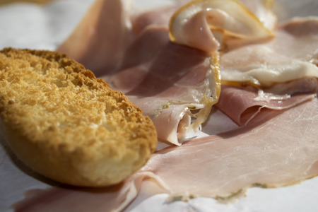 crouton: a tasty cold cuts for snack and appetizer: smoked ham steak with crouton