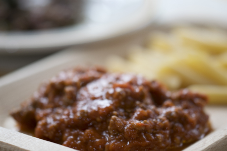 ragout: condiment for pasta: ragout at the bolognese with minced