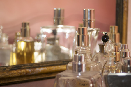 charm: abstract concept of lifestyle charm fashion and personal care through some perfumes bottle Stock Photo