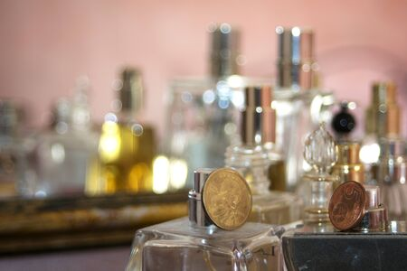 abstract concept of lifestyle charm fashion and personal care through some perfumes bottle Stock Photo