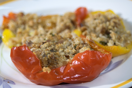 crumb: bell peppers filled with crumb capers andpine nuts and baked