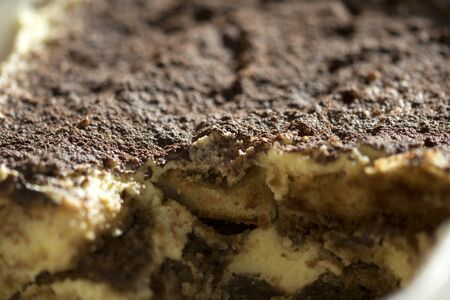 mascarpone: homemade Italian tiramisu with mascarpone cacao and espresso coffee Stock Photo