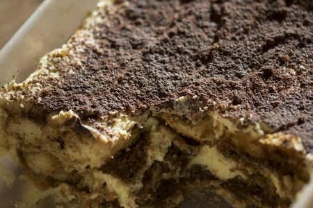 mascarpone: homemade Italian tiramisu with mascarpone cacao and espresso coffee Stock Photo