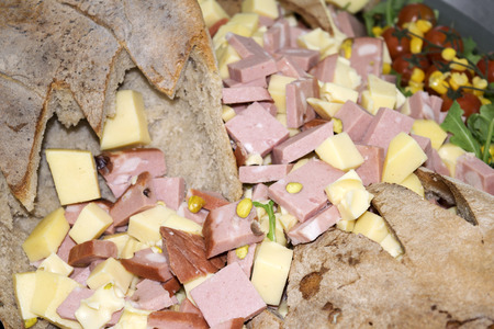 bologna baloney: Appetizer of sticks of parmesan cheese and kernels of walnuts