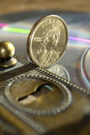 monetary concept: concept of monetary and banking security through a keyhole and some money