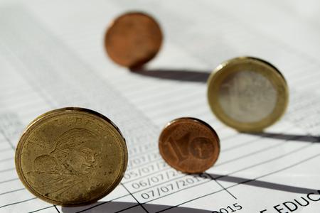 hoja de calculo: concepto de Stare contable a través de una hoja de cálculo y un poco de dinero