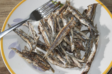 european anchovy: fresh anchovies of market of the mediterranean sea roasted on the griddle