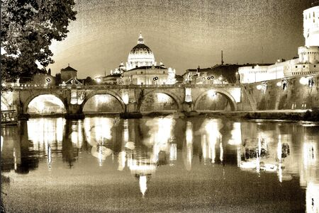 graphically: rome.digital art.  tiber river with the st peters basilica graphically reworked