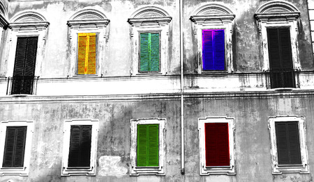 graphically: a facade of a building in historic city centre of Rome graphically reworked through digital art Stock Photo