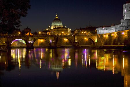 graphically: Digital art.Rome.Tiber river with the St peters basilica graphically reworked