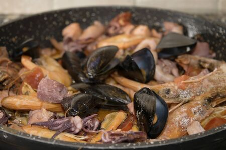 crustaceans: seasoning for pasta for this sauce allo scoglio from a combination of seafood shellfish crustaceans and molluscs Stock Photo