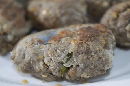 Eggplant meatballs Stock Photo