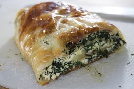 appetiser: slice of quiche spinach and ricotta or savoury pie