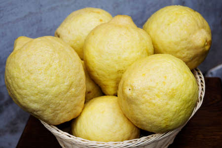 citrons: fresh and organic citrons in a basket