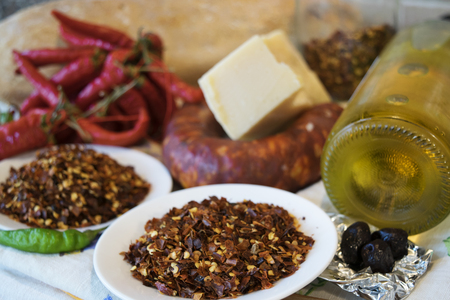 pepper salami: crushed red pepper salami oil typical food of Calabria