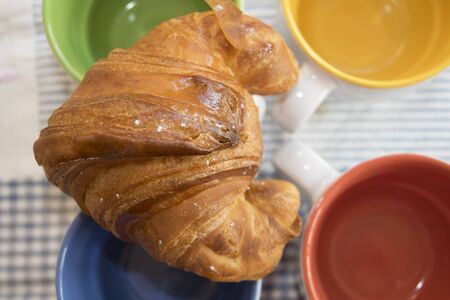hone: croissant at the hone  on some cappuccino cups