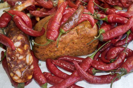 hot chili soppressata and nduja typical products of Calabria Archivio Fotografico