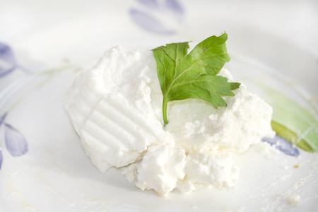 white cheese: fresh ricotta cheese made with sheep milk Stock Photo