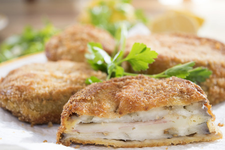 eggplants in carriage or in carrozza italian dish of slices of eggplants battered and fried Stock Photo