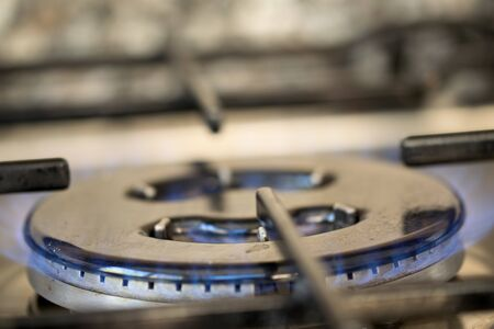 gas cooker: concept of cooking with a flame of a gas cooker Stock Photo
