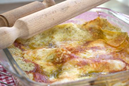 fillo: white lasagne with genoese pesto and tomato sauce