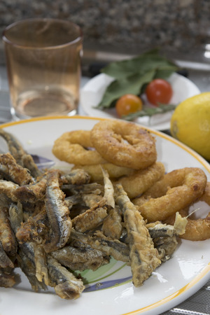battered: mixed fish fry with anchovied and battered calamari