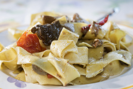 porcini: pappardelle with porcini mushrooms and cherry tomatoes
