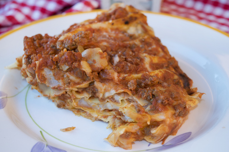 meat sauce: lasagna with bolognese ragout a kind of sauce with minced meat ant tomato sauce Stock Photo