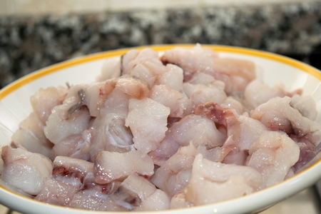 fished: monkfish chopped in small pieces to prepare a sauce for pasta