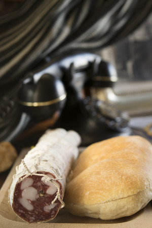 panino: crispy sandwich and miln salami for a filled roll