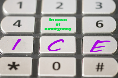 kin: In Case of Emergency (ICE) the world programme that enables to contact the kin of the owner of a working mobile phone to obtain important medical or support information Stock Photo