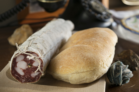 panino: crispy sandwich and milan salami for a filled roll