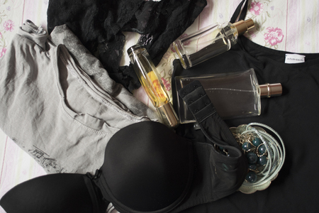 lace bra: underwear perfumes and jwerlies for a concept of charm, elegance and and gallantry