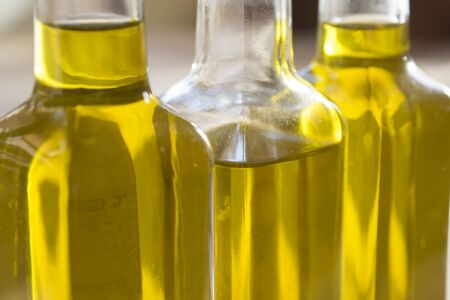 olive green: detail of some  bottles of olive oil Stock Photo