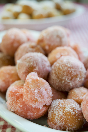 zeppole: castagnole are fried  sweet dough balls with icing sugar famaus In Italy as the dessert of Carnival.