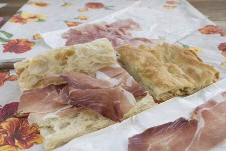focaccia: focaccia filled with serrano jamoncured ham as break lunch Stock Photo