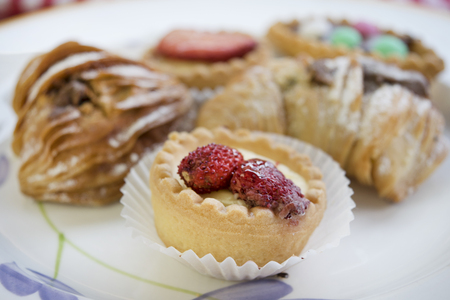 teacake: assortment of pastries with cream or chocolate or also with fresh fruit