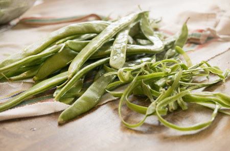 cleaned: fresh and organic string beans just cleaned Stock Photo