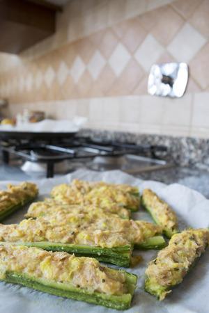 crumb: fresh zucchini stuffed with a filling of tuna and crumb cream