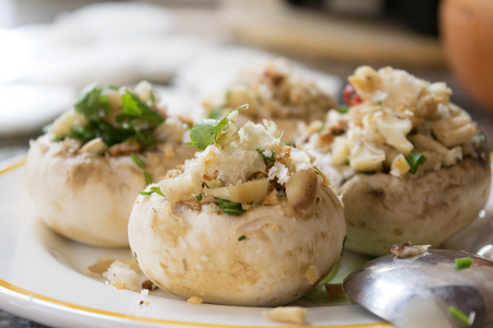stuffed mushrooms with aromatic herbs pine nuts and fresh breadcrumbs
