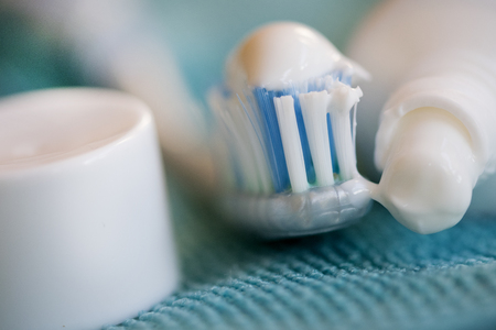 cure prevention: concept of oral cleaning with toothbrush and toothpaste Stock Photo
