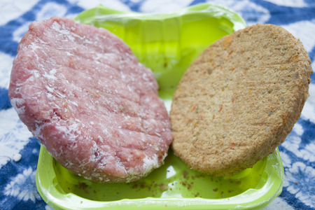 frozen meat: frozen meat and vegetable hamburger in a colored plastic tub Stock Photo