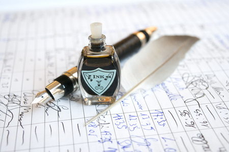 manuscript: longhand on an old manuscript with plume ink and fountain pen Stock Photo