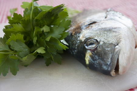 raw sea breams just caught with fresh parsley