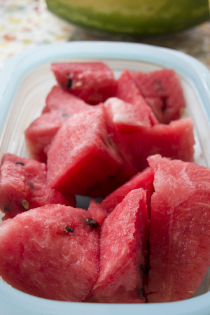 sliced watermelon: fresh and thirst-quenching watermelon cubes Stock Photo