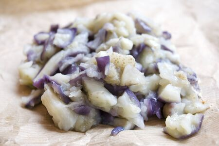 fritters: boiled eggplants to prepare fritters and balls Stock Photo