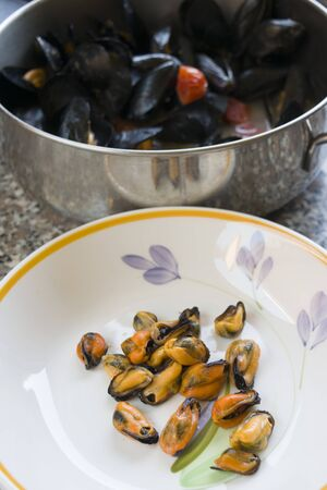 peppered: Neapolitan peppered mussels  cooked with mussels tomatoes and seasoned with pepper