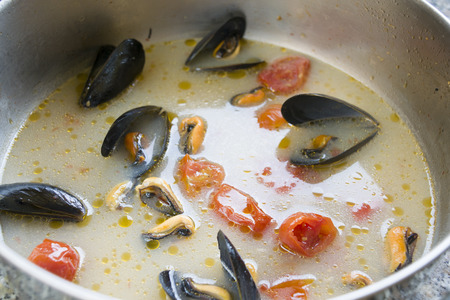 peppered: mussels impepata a soup of mussels with spicy peppered and tomatoes