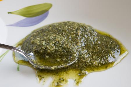 genoese: homemade and fresh genoese basil pesto Stock Photo