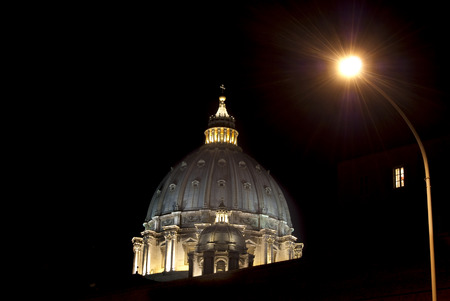 saint peter: Saint Peter cupola in Rome by night from an unusual view